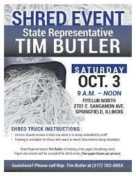 where to shred papers for free illinois state representative tim butler rep butler hosting free