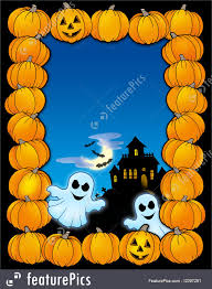 illustration of halloween frame with ghosts