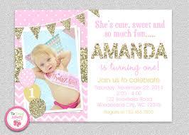 pink and gold invitation 1st birthday invitation