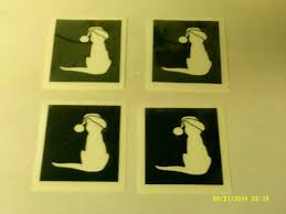 christmas cat santa hat stencils for etching on to glass present