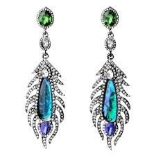 peacock earrings peacock feather drops mixed statement earrings by