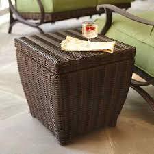 patio storage cube hampton bay allweather pembrey brown wicker