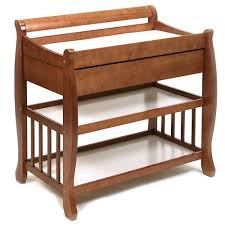 Brown Changing Table Tuscany Solid Wood Sleigh 2 Shelf Cognac Finish Changing Table W