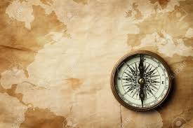 Adventure Map Wintage Compass At Old Crumpled Map Stock Photo Picture And
