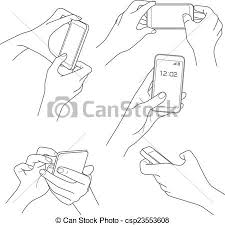 vector clipart of hand holding smartphone sketch vector