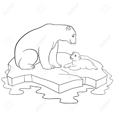 coloring pages mother polar bear sits on the ice floe with her