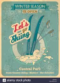 winter season is open so lets go skiing retro poster in retro