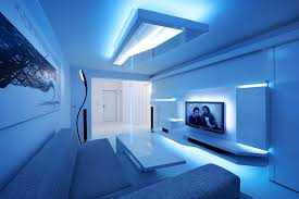 Combination Of Blue by Great Combination Of White And Cold Blue In White Apartment By
