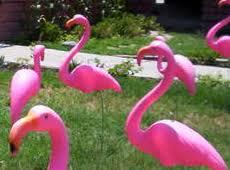 plastic pink birthday flamingos storks