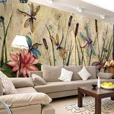 popular dragonflies wallpaper buy cheap dragonflies wallpaper lots personalized dragonfly lotus mural wallpapers eurpoean vintage large photo murals oil painting print decal wall art