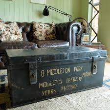 vintage military trunk industrial wwii footlocker metal chest