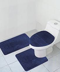 Navy Bath Mat 3 Bath Rug Set Pattern Bathroom Rug 20 X32