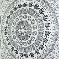 psychedelic white black elephant mandala tapestry sun moon
