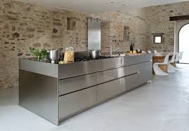 inox cuisine cuisine inox with bloc cuisine kitchen contemporary and wooden bar