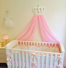 Princess Nursery Bedding Sets by Princess Girls White Baby Pink Cot Bed Crown Canopy Voile Nursery