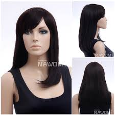 natural synthetic fiber chestnut side swept bangs armpit length