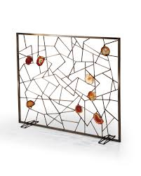 venice fireplace screen transitional mid century modern