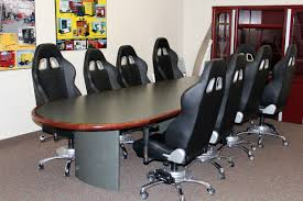 nine piece black car conference room chairs
