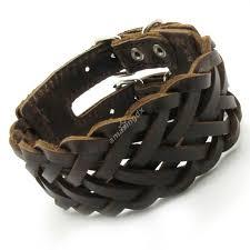 leather hand bracelet images Fashion jewelry mens brown genuine leather hand knitt bracelet jpg
