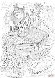 sea horse and princess mermaid found treasure coloring page free