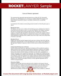 leave of absence letter u0026 agreement form with sample