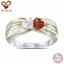 Personalized Engraved Rings Sterling Sliver Custom Two Hearts Engraved Rings Personalized