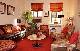 brown and red living room ideas with brown leather sofa home