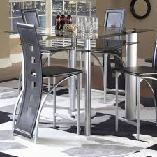 bernards astro smoked glass counter height pub table black