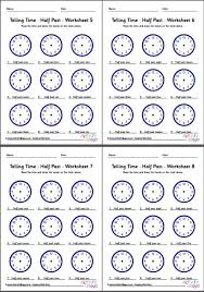 telling time worksheets half past pack 2