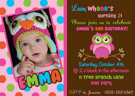 2nd Birthday Invitation Card Owl Birthday Invitations Kawaiitheo Com
