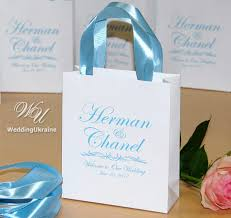 welcome to our wedding bags 30 light blue personalized paper gift bags for your wedding guests