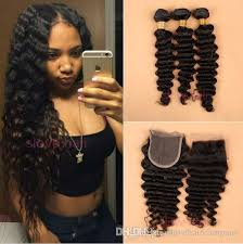black hair weave part in the middle 8a brazilian deep wave curly hair 3 bundles with closure free