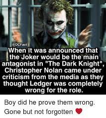 Dark Knight Joker Meme - dcfact when it was announced that the joker would be the main