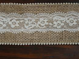 burlap and lace ribbon 2 5 inch burlap lace and ivory pearl ribbon rustic wedding decor