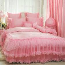 Princess Comforter Full Size Korean Bedding Sets Beautiful Romantic Luxury Princess Lace Ruffle