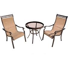 Outdoor Sling Chairs Hanover Monaco 3 Piece Aluminum Outdoor Bistro Set With Round