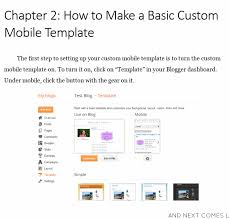 how to create a custom mobile template on blogger and next comes l