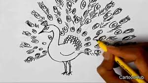 how to draw a dancing peacock for children kids beginners lesson