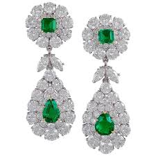 diamond earrings for sale cleef and arpels emerald and diamond earrings for sale at 1stdibs