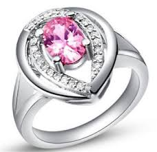 silver wedding ring hot fashion women pink gemstone silver wedding ring