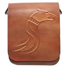 genti piele handmade geanta lup dacic maro din piele naturala koson