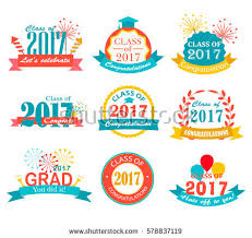 graduation signs graduation 2017 badges emblem set collection stock vector 578837119