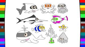 sea animals coloring pages art of colour for kids youtube