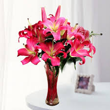 pink lilies pink lilies vase gift india hub