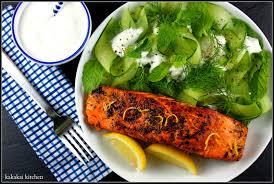 kahakai kitchen spice grilled salmon with tzatziki salad