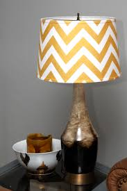 decor unique yellow gold and white chevron pattern lampshade with