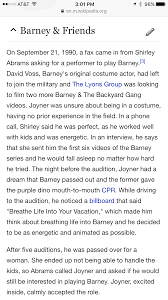 ama request person that has played barney the dinosaur iama