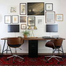 Two Person Home Office Desk Two Person Desk Design Ideas For Your Home Office Trestle Legs
