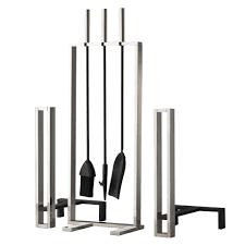 jbs langeis fireplace toolset with andirons mid century modern