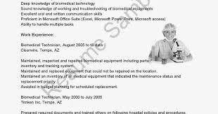 Biomedical Technician Resume Sample by Resume Samples Biomedical Technician Resume Sample Small Business